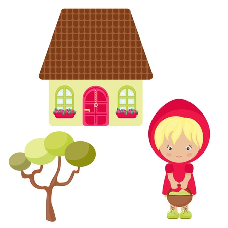 red riding hood: Cartoon Red Hood, her house and tree Illustration