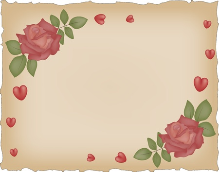 Vintage grunge paper with red roses and hearts