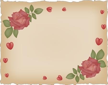 Vintage grunge papier met rode rozen en hartjes Stockfoto - 12496701