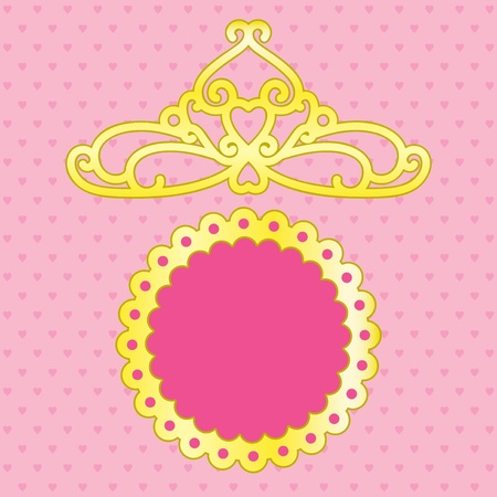 yellow crown: Pink background with space for text and crown