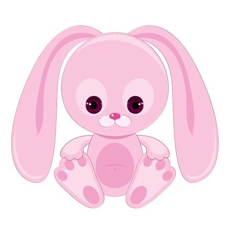 Triste conejo rosa Vectores
