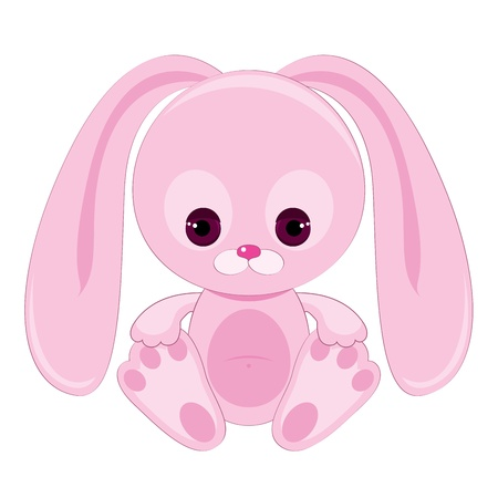 lapin dessin: Triste lapin rose Illustration