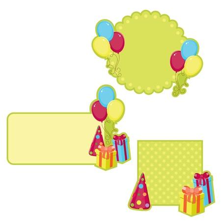 Verjaardag stickers, geïsoleerd op wit