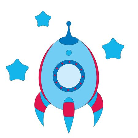 Cartoon blue rocket with stars Ilustração