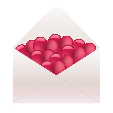 White envelope full of hearts Vector