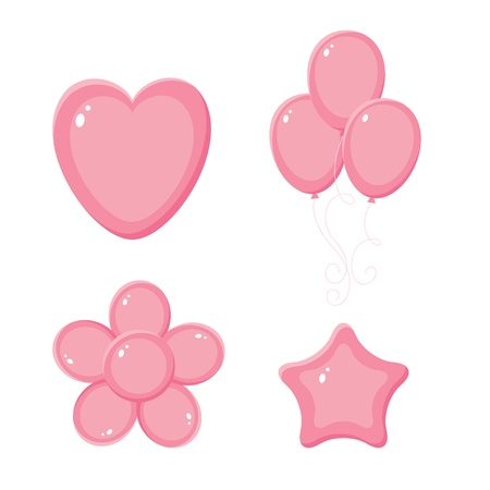 Pink shiny balloons, heart, flower and star Vector