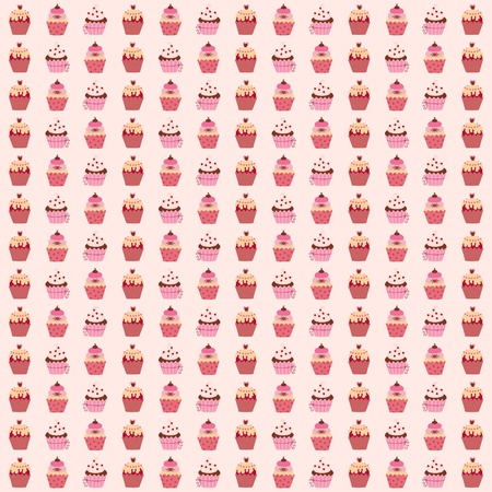 Pink seamless wallpaper with muffins