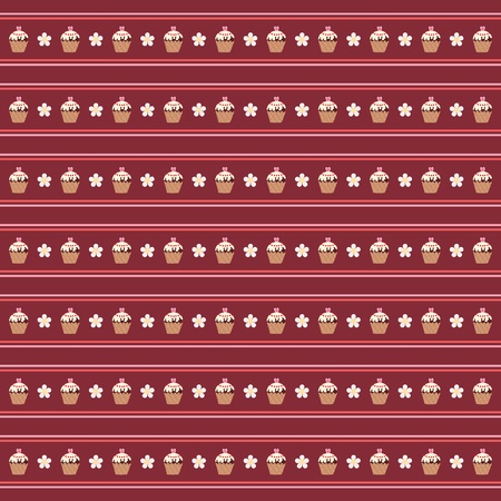 Seamless striped wallpaper with muffins Vector