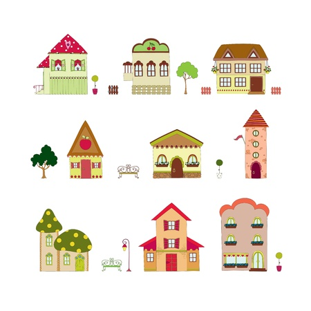 cottages: Cartoon isolated houses
