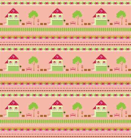 Seamless cute cartoon wallpaper Vector