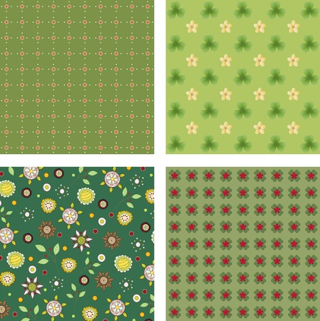 Four floral wallpaper set