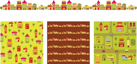 nice house: Cartoon buildings banners Illustration