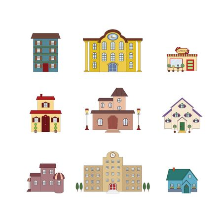 building: Cartoon isolated buildings