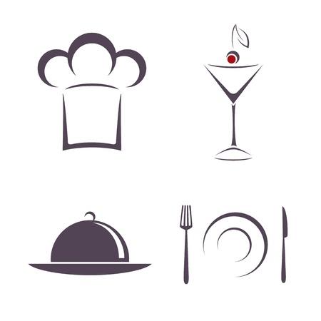 casquetes: Los signos y s�mbolos para el restaurante Vectores