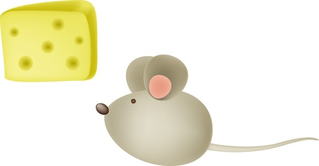 drawings image: Mouse and cheese Illustration