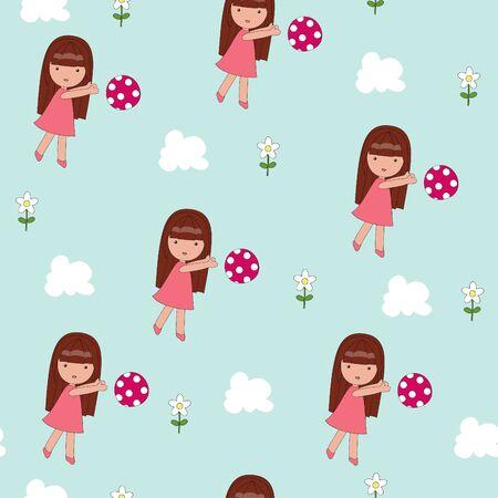 Playing girl seamless wallpaper Vector
