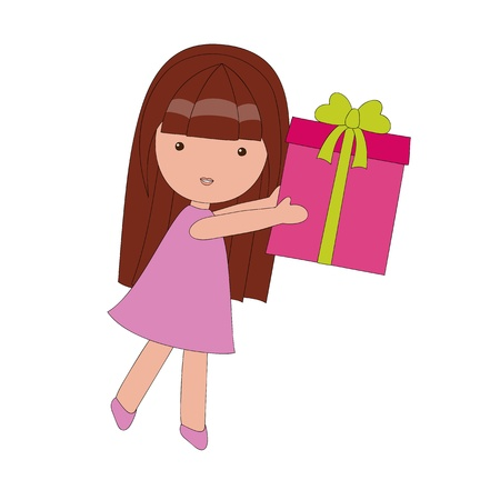 Little girl with a gift Stock Vector - 13307175