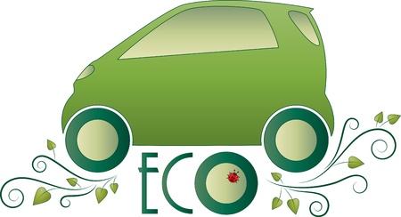 smart: Eco car  Green floral icon Illustration