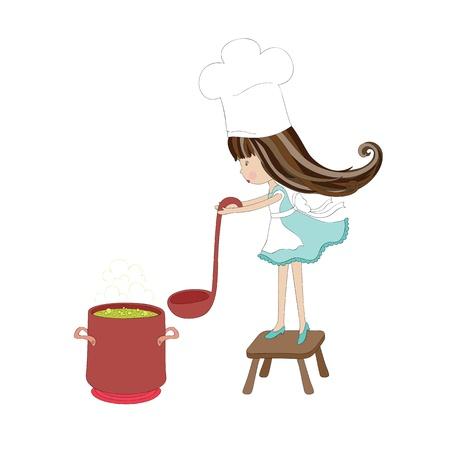 小さな女の子の料理  イラスト・ベクター素材
