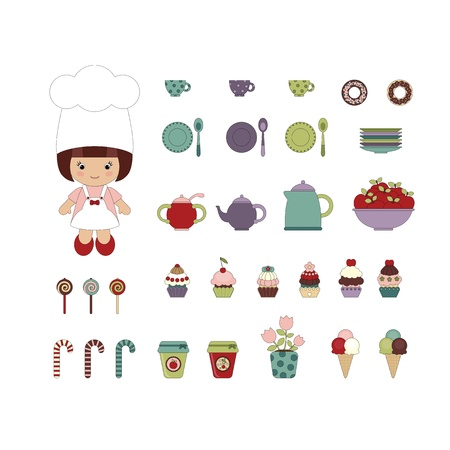 Cute dessert set with little girl chef Vector