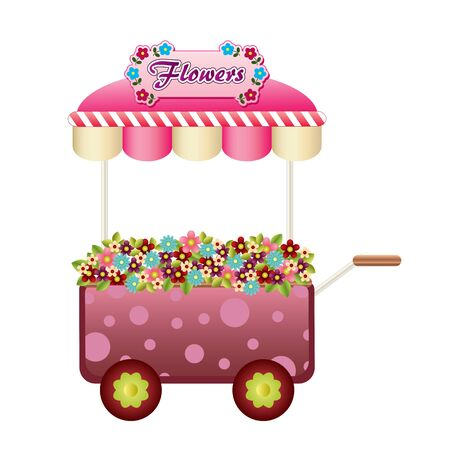 Flowers wagon Stock Vector - 13638985
