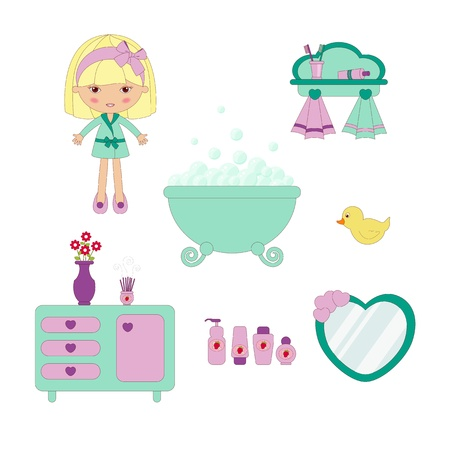 little girl bath: Cute bathroom set Illustration