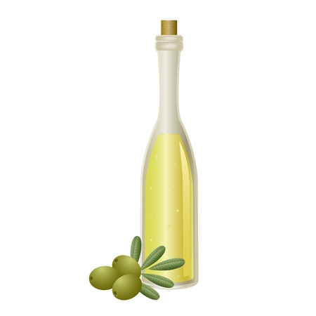 olive oil bottle: Isolated oil bottle with olives