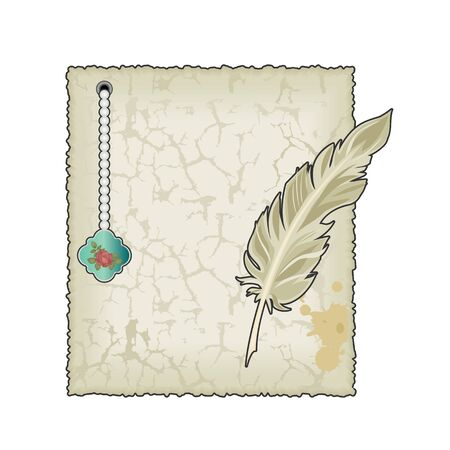 Vintage blank paper with feather