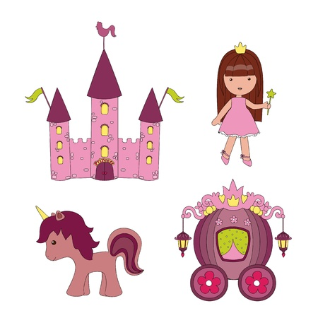 horse drawn carriage: Hand drawn set of vector princess icons