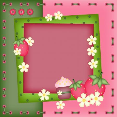 layout strawberry: Summer photo frame
