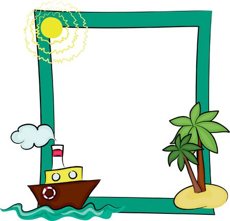 Frame with a boat and a palm tree Vector