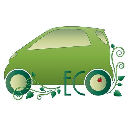 eco car: Coche ecol�gico. Verde floral icono