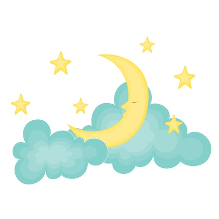star clipart: Sleeping moon on the clouds
