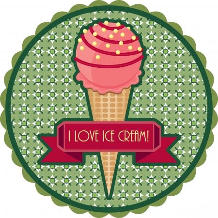 Emblema retro con helado