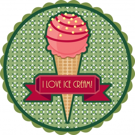 Retro emblem with ice cream Çizim