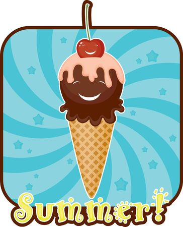 glace: Summer funny emblem with ice cream