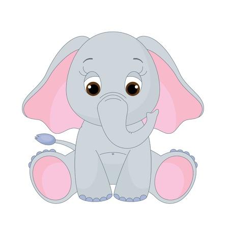 Cute baby elephant sitting alone. Isolated on white
