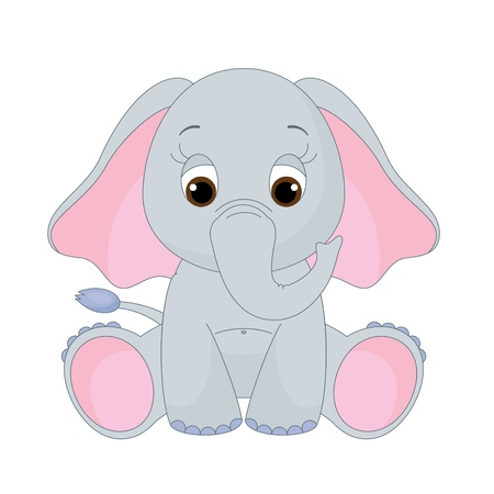 Cute baby elephant sitting alone. Isolated on white Vector
