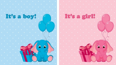 pink elephant: Baby arrival cards for boy and girl Illustration