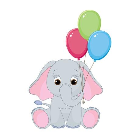 다채로운 풍선과 함께 귀여운 아기 코끼리. 흰색에 고립 일러스트