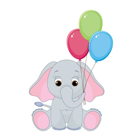 Cute baby elephant with colorful balloons. Isolated on white