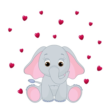 Cute baby elephant, isolated on white, with flying hearts Ilustração