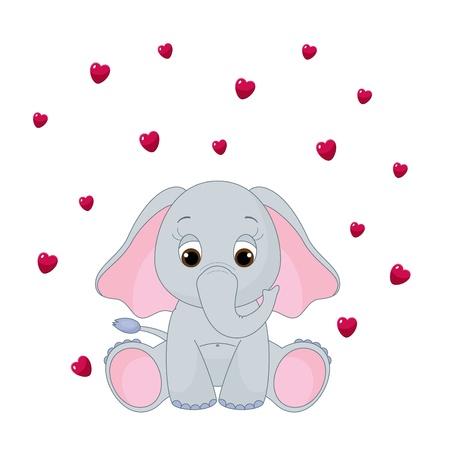 Cute baby olifant, geïsoleerd op wit, met vliegende hart Stockfoto - 14126014