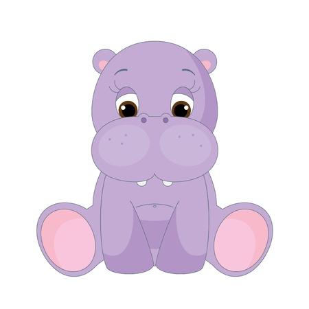 귀여운 아기 하마는 혼자 앉아. 흰색에 고립