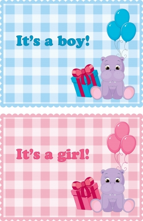 Baby arrival cards for boy and girl Çizim