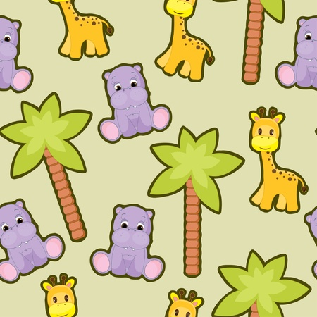 Seamless baby animal background Vector
