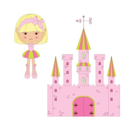 Cute princess ballerina with castle Vector