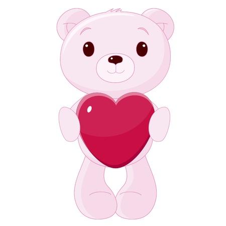 Cute teddy bear with heart Stock Vector - 14353528