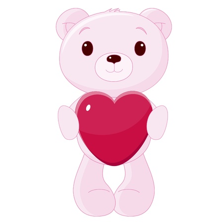 Cute teddy bear with heart 向量圖像
