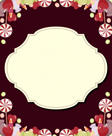 cute border: Scheda vuota luminosa con caramelle